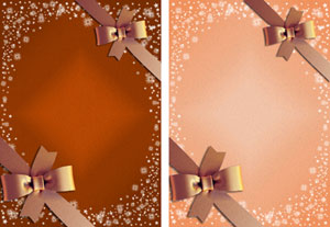 christmas gift ribbon in brown & peach
