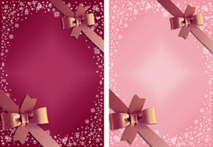 christmas gift ribbon in burgundy & pink