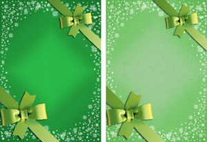 christmas gift ribbon in greens