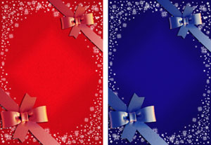 christmas gift ribbon in red & blue