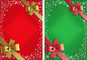 christmas gift ribbon in red & green with contrasting ribbon