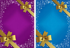 christmas gift ribbon in purple & blue with contrasting ribbon
