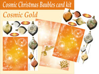 cosmic baubles 3d card kit gold