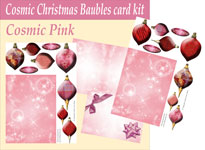 cosmic baubles 3d card kit pink