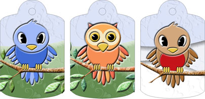 Bertram, Oswald & Rufus Gift Tags, from Candice's Critters