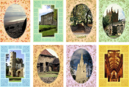yorkshire scenes notelets with pastel border