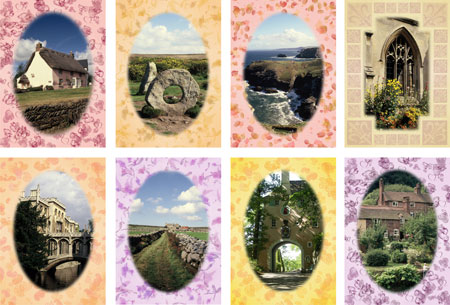UK scenes notelets with pastel border