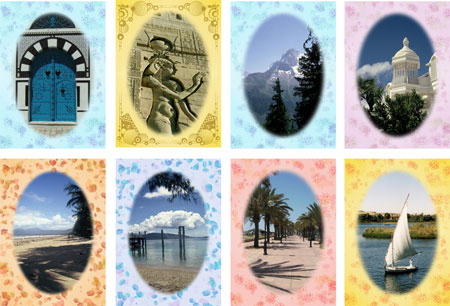 world scenes notelets with pastel border
