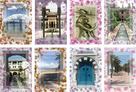 world scenes notelets with patterned border