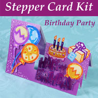 birthday party stepper card kit