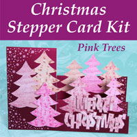 pink trees christmas stepper card kit