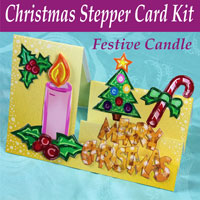 festive candle christmas stepper card kit