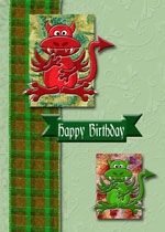 card example with dragon topper