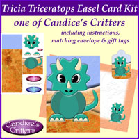 tricia triceratops easel card kit, one of Candice's Critters