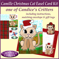 camille christmas cat easel card kit, one of Candice's Critters