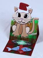easel card christmas cat