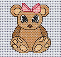 Beatrice Bear cross stitch design, Candice's Critters