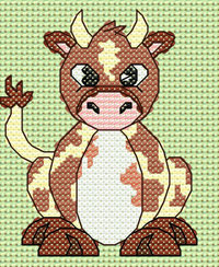 Clara Cow cross stitch design, Candice's Critters