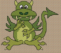 Denzil Dragon cross stitch design, Candice's Critters