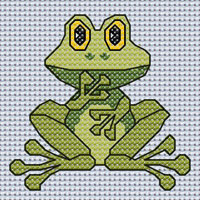 Freda Frog cross stitch design, Candice's Critters