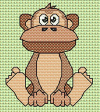 Mungo Monkey cross stitch design, Candice's Critters