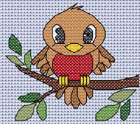 Rufus Robin cross stitch design, Candice's Critters