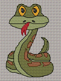 Suzie Snake cross stitch design, Candice's Critters
