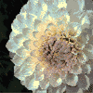 White Dahlia cross stitch design, Candice Crafts Cross Stitch Shop