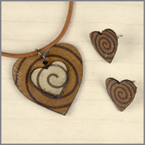 leather bicolour heart with brown studs