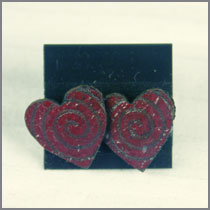 leather heart studs red
